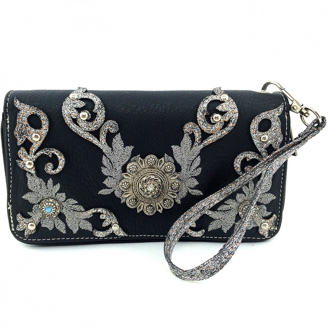 Western Rhinestone Concho Embroidery Zip Around Wallet Clutch Purse Wristlet
