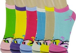 ICONOFLASH Children's Printed 6-Pair Bundle Ankle Sock Pack, (Street Art, Siz... - $10.88