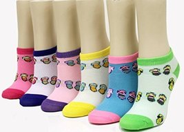 ICONOFLASH Children's Printed 6-Pair Bundle Ankle Sock Pack, (Flip Flops, Siz... - $10.88