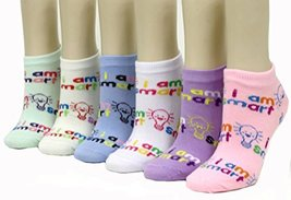 "ICONOFLASH Children's Printed 6-Pair Bundle Ankle Sock Pack, (""I Am Smart"", S... - $10.88"