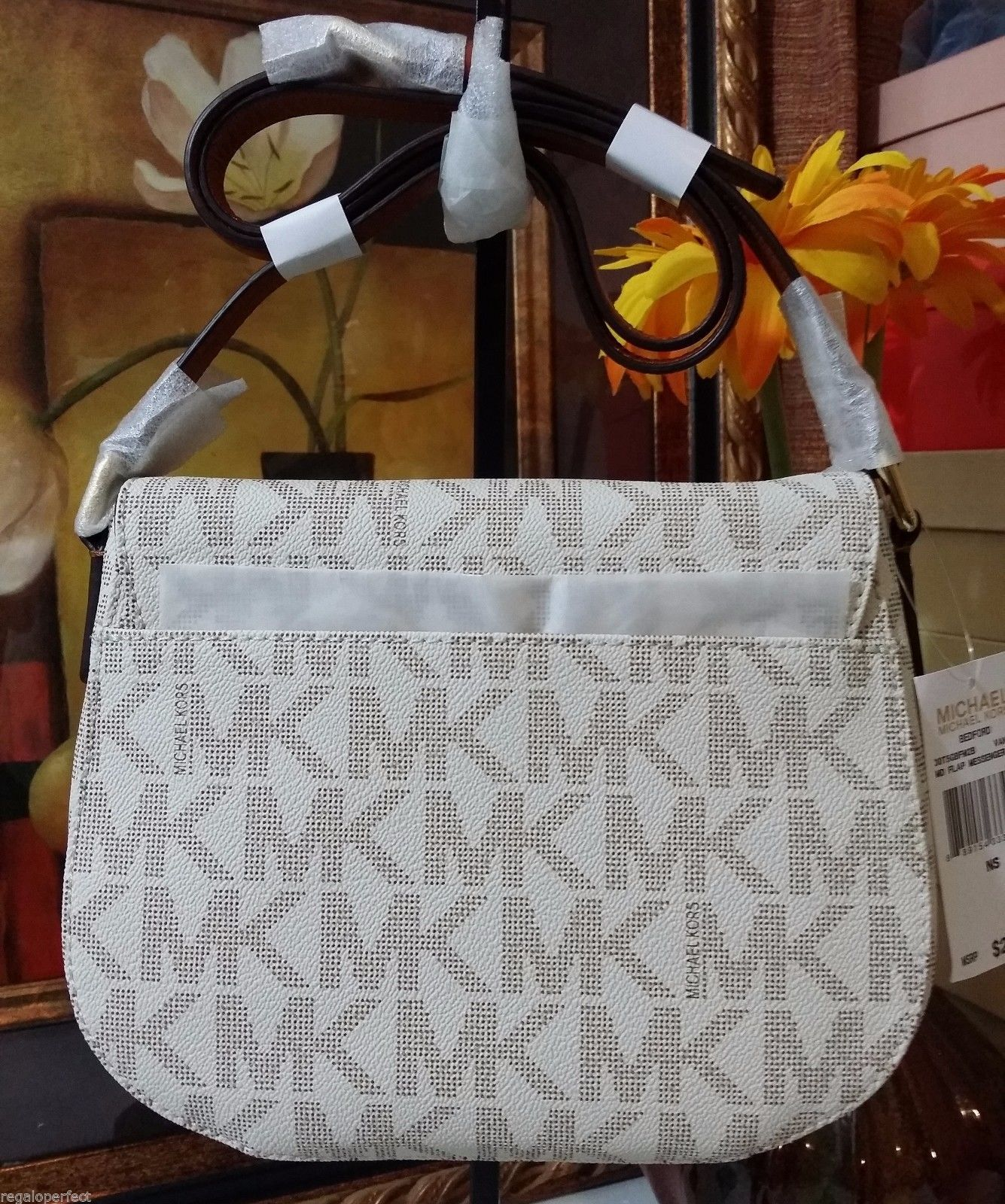 NWT Michael Kors Signature Bedford Medium Flap Messenger PVC Vanilla MSRP $248