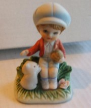 Jasco Bisque Boy Holds Ball  Plays with Kitten 70s - $4.99