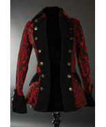 Black Red Brocade Gothic Victorian Jacket Steampunk Short Pirate Princes... - $119.99