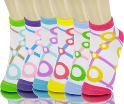 ICONOFLASH Children's Printed 6-Pair Bundle Ankle Sock Pack, (Bubble Grid, Si... - $10.88