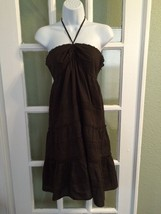 Ann Taylor Loft Dress Sundress Halter Brown 100... - $23.36