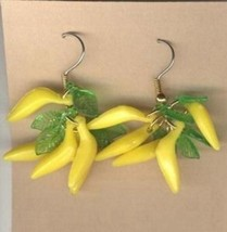 Funky Luau BANANA BUNCH BEAD EARRINGS Monkey Food Tropical Fruit Costume... - $7.99