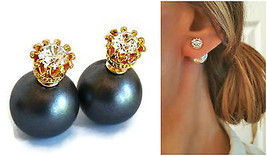 Double pearl Back front 14k Gold CZ tribal ear ... - $22.99