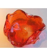 Murano Red Art Glass with Bubbles Ashray Bowl - $53.99