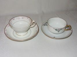Mixed Lot 2 Vintage Tea Cups Saucers Johann Haviland Bavaria Floral Gold Trim - $29.69
