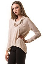 ICONOFLASH Women's Casual Long Sleeve Cowl Neck Top (Oatmeal, Size Medium) - $17.81