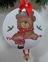 6 Custom Personalized Christmas Ornaments Red Hat Bear Your Chapter Name & Year - $74.23