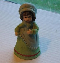 Jasco Colonial Lady in Green and Blue Bisque Bell - $4.99
