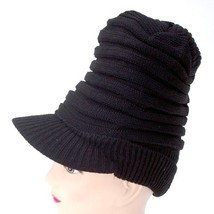 NEW WOMEN KNITTED WINTER HAT STRETCHED SOLID BLACK BEANIE WITH VISOR CAP... - $6.55 CAD