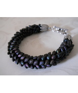"Kumihimo ""Dragon Scale"" Bracelet, Matte Black AB Long Magatama Beads - $29.00"