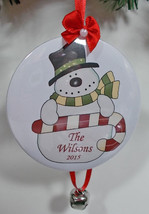 6 Custom Personalized Christmas Ornaments Snowman Candycane  Your Name & Year - $74.23