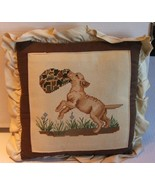 Playful Puppy Dog Needlepoint Pillow - $24.99