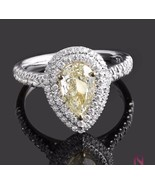 1.69ct Pear Shaped Diamond Natural Fancy Yellow Halo  Engagement 18k Gol... - $2,998.71