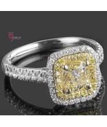 1.70ct Cushion Natural Faint Yellow Diamond Engagement Ring 18k Two-Tone... - $3,513.51