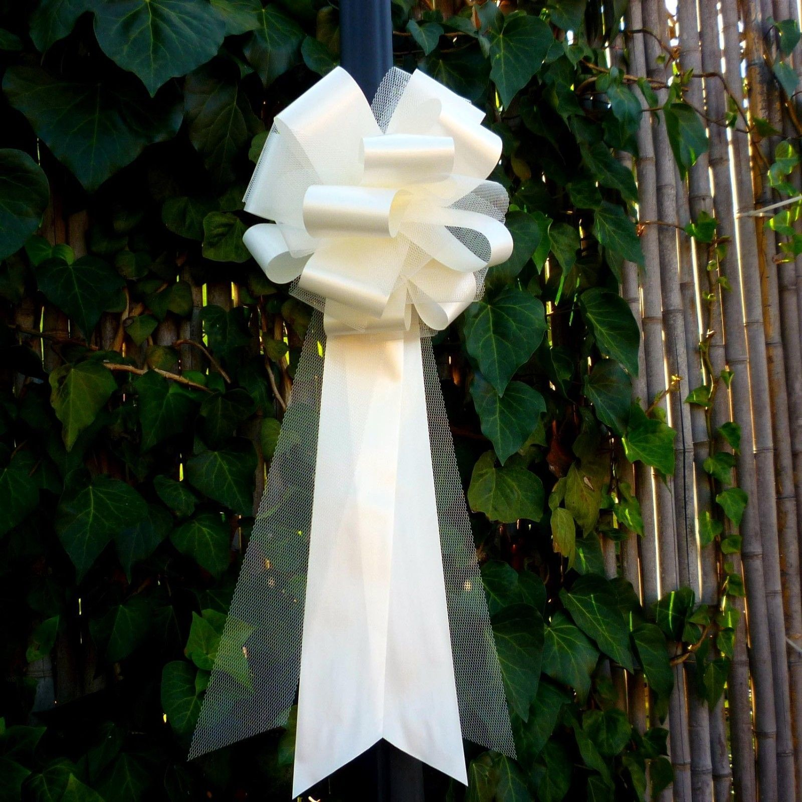 Wedding Ideas For Church Pews: 6 Large Ivory Tulle Pew Pull Bows Church Wedding Chair