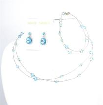 Custom Handcraft Jewelry Aquamarine Swarovski Crystals Complete Set - $35.48