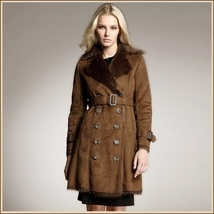 Brown Suede Faux Fur Big Lapel Collar Double Breasted Long Warm Trench Coat