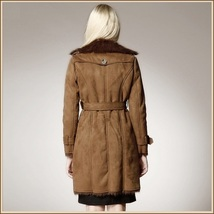 Brown Suede Faux Fur Big Lapel Collar Double Breasted Long Warm Trench Coat  image 2