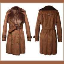 Brown Suede Faux Fur Big Lapel Collar Double Breasted Long Warm Trench Coat  image 3
