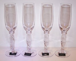 "STUNNING SET OF 4 MIKASA CRYSTAL ALESSANDRA 9 1/2"" CHAMPAGNE FLUTES WITH... - $59.39"