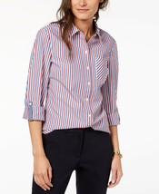 Tommy Hilfiger Womens Cotton Printed Utility Button-Up Shirts Sky Size X... - $44.62