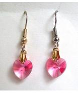 Rose Pink Crystal Hearts Dangle Eurowire Earrin... - $8.90