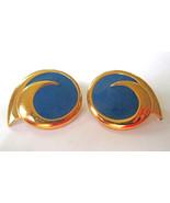 Monet Signed Cobalt Blue Enamel & Gold Tone Metal Round Swirl Clip-on Ea... - $8.90