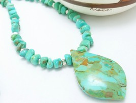 Kingman American Southwest Turquoise Pendant Beaded Sterling Necklace Bl... - $125.00