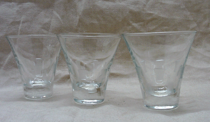 Vintage Mid Century Etched Glass Pitcher & Glasses // Barware