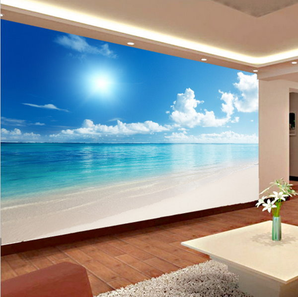 Relaxing 3d calm ocean beach blue sky wallpaper mural wall for Beach mural ideas