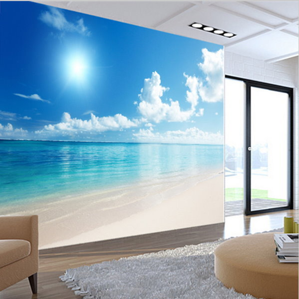 Relaxing 3d Calm Ocean Beach Blue Sky Wallpaper Mural Wall