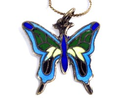 VINTAGE STERLING SILVER ENAMEL MEXICO BUTTERFLY NECKLACE 925 EAGLE 15 DA... - $24.74