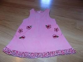 Size 24 Months Bonnie Baby Pink Corduroy Jumper Dress Floral Embroidery EUC - $14.00