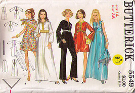 1980's EVENING DRESS, PANTS & SCARF Pattern 5549-b Size 14 - UNCUT - $14.50
