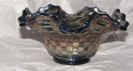 Fenton Carnival Glass Blue Ruffled Basketweave Open Edge Amethyst Bowl R... - $42.08