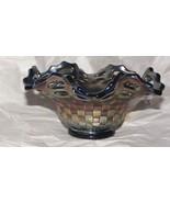 Fenton Carnival Glass Blue Ruffled Basketweave Open Edge Amethyst Bowl R... - $42.08