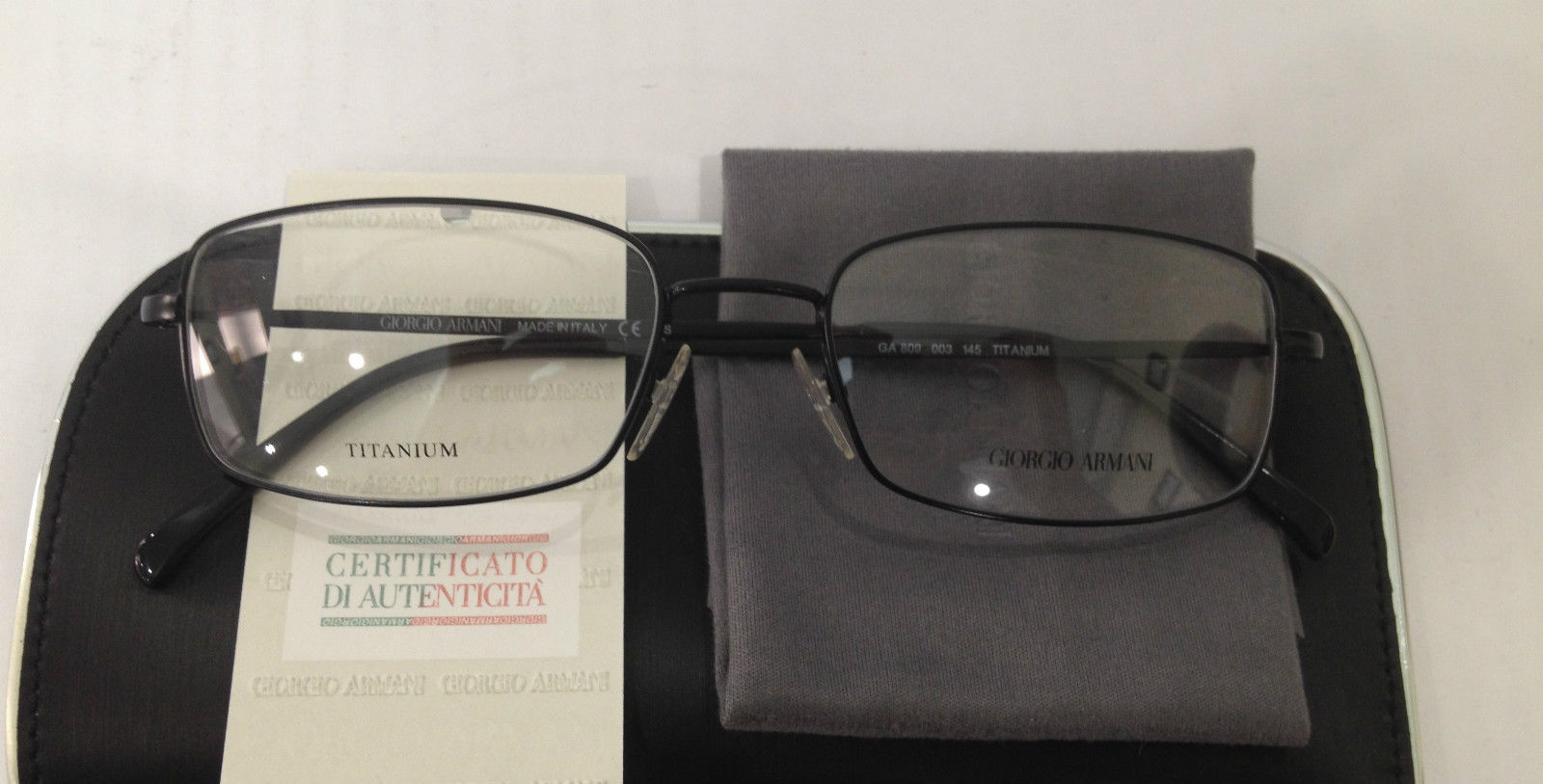 New Giorgio Armani GA809 Color 003 Black Titanium Metal ...