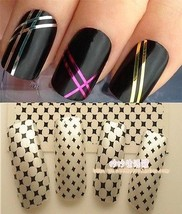 J2087 NAIL ART SET-STRIPING TAPE ROLLS LINE STICKER+BLACK WHITE CLASSIC ... - $3.99