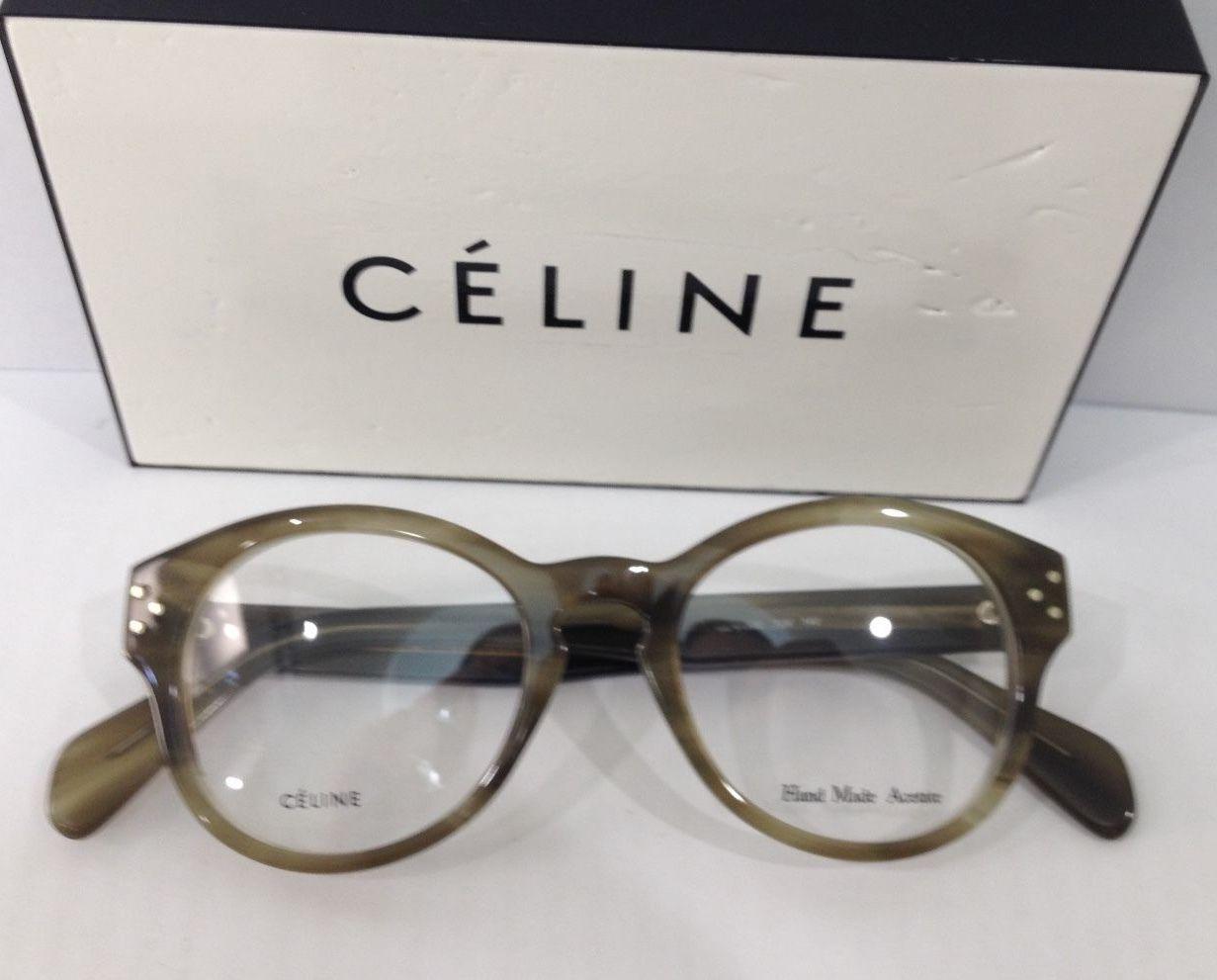 Glasses Frame Size 47 : CELINE CL 41300 COLOR 7J7 OLIVE STREAK PLASTIC EYEGLASSES ...