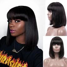 Ali Pearl Human Hair Bob Wigs With Bangs Machine Made Glueless None Lace... - $27.96
