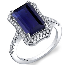 Women's Sterling Silver Vintage Emerald Cut Blue Sapphire Halo Ring - $129.99