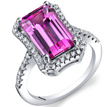Women's Sterling Silver Vintage Emerald Cut Pink Sapphire Halo Ring - $129.99