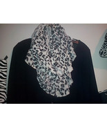 White Cougar Animal Print warm winter infinity Scarf also available in r... - $19.75