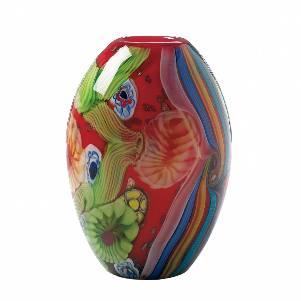 Hand-Crafted Red Free-Form Floral Art Glass Vase  - $64.95
