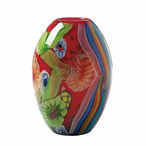 Hand-Crafted Red Free-Form Floral Art Glass Vase  - $71.95