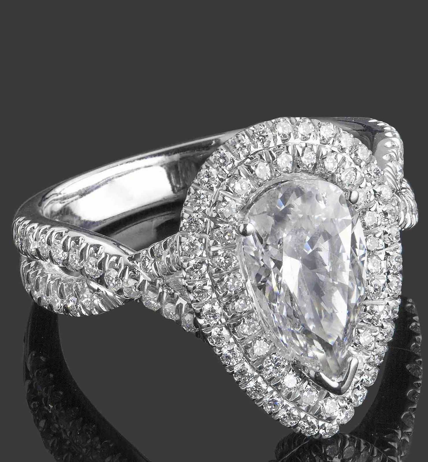 Pear Shaped Halo Engagement Ring: 2.46ct Pear Shaped Diamond Engagement Double Halo Ring 18k